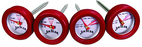 Jim Beam 2 Steak and 2 Poultry Barbecue Thermometer, One Size, Red