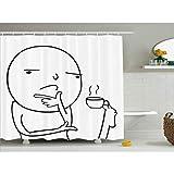 N/X DuschvorhangHumor Duschvorhang nachdenklich Meme Kaffee Druck für Badezimmer Wasserdicht & Stoff für Kinder