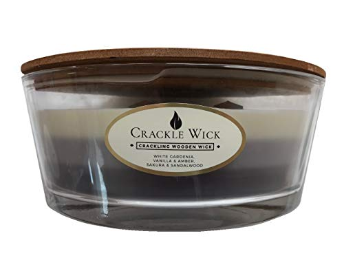 Crackle Wick Large Scented Candle in Glass Jar 485g - Triple Scent - Grey