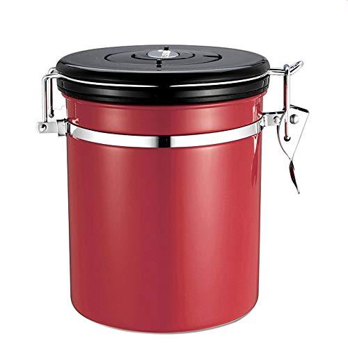 NNDQ Luftdichter Kaffeebehälter aus Edelstahl, vakuumdichte Entlüftungsöffnungen, gemahlene Kaffeebohne zur Aufbewahrung für Besser schmeckenden Kaffee (500 g),Red