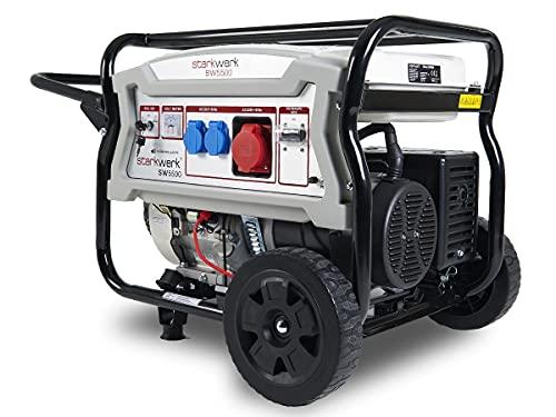 5500 Watt Nennleistung 12,2 PS Benzinmotor 2x230 V 1x 400V Benzin Stromerzeuger Notstromaggregat Stromgenerator Starkwerk SW 5500