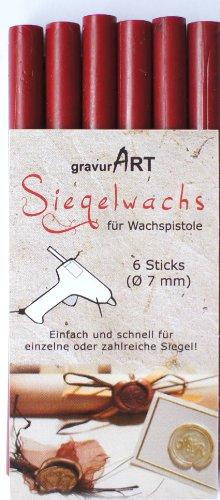 gravurART - 7mm Siegelwachs flexibel für Wachspistole - Bordeaux rot - 6er Pack Farbauswahl