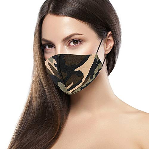 Cloth Face Mask Washable with Filter Pocket - Fashionable Women Designs are Washable, Breathable and Reusable - Soft Cotton Blend for Comfortable Protective Covering - Made in USA (Bright Camo)