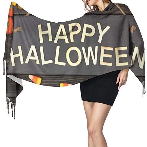 Cachemira de imitación Invierno Bufanda Chal Feliz Halloween cartel negro con letras...