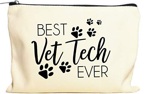Moonwake Designs Best Vet Tech Ever Makeup Bag - Vet Tech Gift, Veterinarian Gift, Gift for Animal Lover