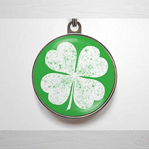 BYRON HOYLE Pet ID Tag Lucky Pet Tag, Clover Pet ID Tag, Shamrock Custom Engraved Puppy Tag Stainless Steel Dog Cat ID Tags Front & Back Text Alloy Sign Durable Pet License Plate Pet Gift