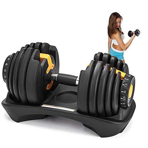 Weanas 52.5LBS/1pcs Adjustable Dumbbell Fitness Dumbbell Standard with Handle and Weight Plate for Home Gym System
