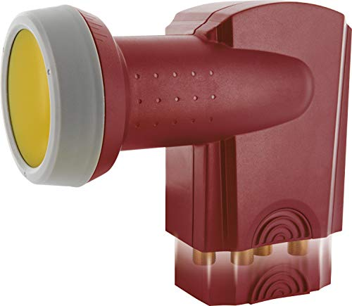 SCHWAIGER -388- Quad LNB mit Sun Protect, 4-Fach, digital (4 Teilnehmer), extrem hitzebeständige LNB Kappe, Einsatz mit Satellitenschüssel, multifeed-tauglich mit Wetterschutz, vergoldete Kontakte