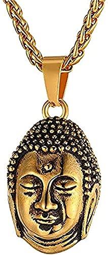 TTDAltd Collar Collares De Moda para Hombres/Mujeres, Color Budista, Oro, Acero Inoxidable, Buda, Budismo, Joyería India, Collar con Colgante De Tailandia