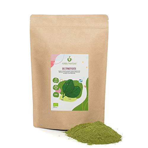 Spinaci bio in polvere (500g), spinaci macinati, 100% naturali, macinati delicatamente, senza additivi, vegani