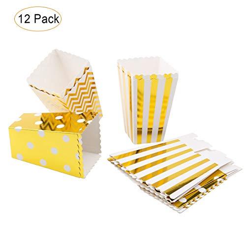 SenPuSi Paquete de Palomitas de maíz, 12 Piezas Mini Caja de Fiesta de Palomitas Contenedor de Dulces para Los Bocados del Partido, Los Dulces, Las Palomitas y Los Regalos - Dorado