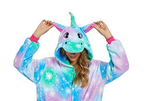 Adultos unisex unicornio Tigre Lion Fox Onesie Animal Pijamas Halloween Carnaval Disfraz Loungewear X-green Hope Unicorn S