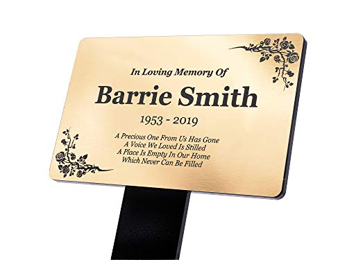 OriginDesigned Personalised Gold Memorial Plaque Stake Grave Ornament For Remembering Your Loved One