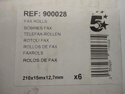 5 Star 5 Etoiles ETL-900028 - Set di 6 rotoli di carta per fax, 210 mm di larghezza x 12 mm di diametro x 15 m di lunghezza rotolo, colore: bianco
