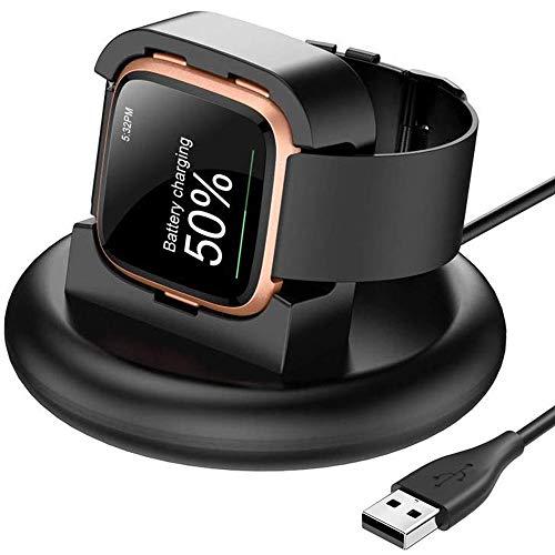 XIMU Compatibel met Fitbit Versa oplader / Versa Lite oplaaddock / Versa SE opladerstandaard, 80 ° USB oplaadstation Basisvervanging Draagbare accessoires voor Versa Smart Watch (NIET voor Versa 2)