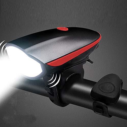 TIANkuo Luz de Bicicleta Delantera USB con Luces de Bicicleta Recargables de Cuerno Luces Impermeables de Ciclismo Faro Potente Linterna lámpara MTB Accesorios