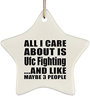 QMSING All I Care About is UFC Fighting Like Maybe 3 People - Ceramic Star Ornament, Christmas Tree Decor, Unique Gift Idea Birthday, Thanksgiving Day, Christmas BH585036
