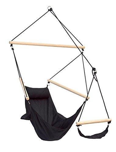 AMAZONAS Hängesessel Swinger Black mit Fußablage aus Rucksackstoff besonders stabil und wetterfest bis 120 kg