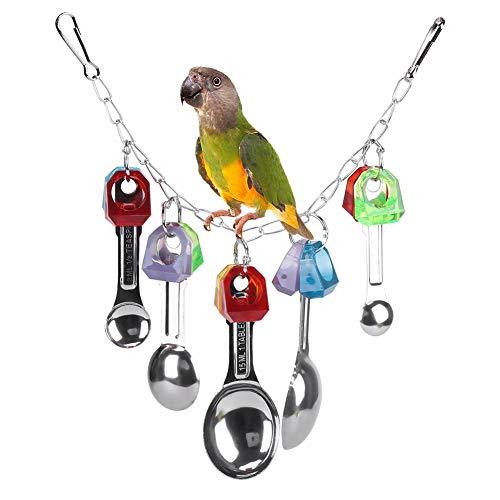 HEEPDD Papegaai Kooi Speelgoed, Vogels Papegaaien Metalen Lepel Bijten Accessoires Foraging Kauwen Vernietigt Speelgoed Tanden Zorg Gereedschap Opknoping Speelgoed