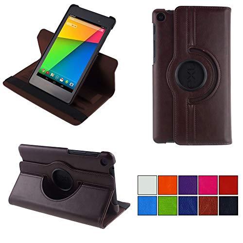 COOVY® 2.0 Cover für Google ASUS Google Nexus 7 (2. Generation Model 2013) Rotation 360° Smart Hülle Tasche Etui Hülle Schutz Ständer Auto Sleep/Wake up   braun