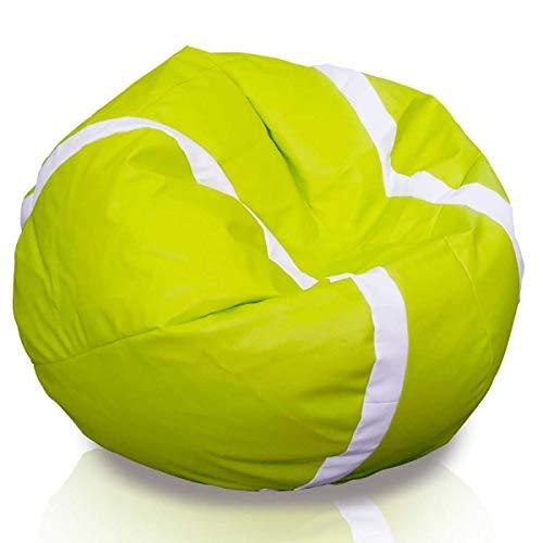 Ecopuf Puf Tennis - Pouf Poltrona Sacco Pallone Palla da Tennis Grande Puff in Ecopelle Dim. 105 X 55 Doppie Cuciture Rinforzate PUF Imbottito con Perle di POLISTIROLO