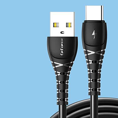 Cable de carga rápida tipo C para Samsung S10 S9 S8 Cargador rápido USB-C Cable para Xiaomi Redmi Cable de datos para Huawei P30 Negro para Tipo C 0,5 m