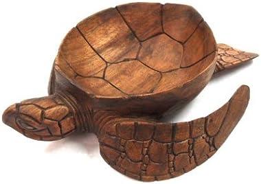 WorldBazzar Hand Carved Mahogany Wood Nautical Turtle Bowl