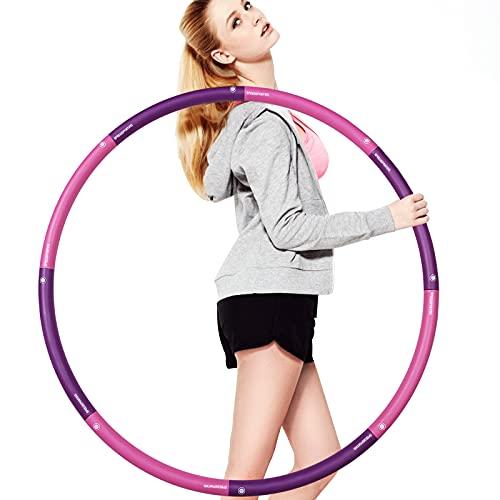 SPEEDSPORTING Fitness Reifen Hoop Hula Hoop Reifen Erwachsene 1.8 kg, 8 Teile Breit 100cm Hoop Reifen Kinder Anfänger, Perfekt Fitnesshoop Fitness Powerhoop mit Schaumstoff (Lila)