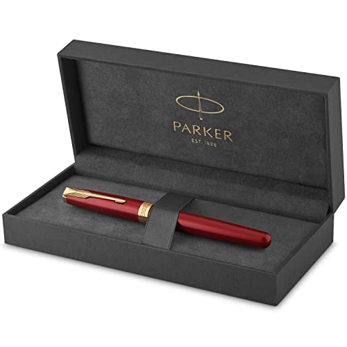 PARKER Sonnet Penna Stilografica, Laccatura di Colore Rosso con Dettagli in Finiture in Oro, Pennino Sottile, Confezione Regalo