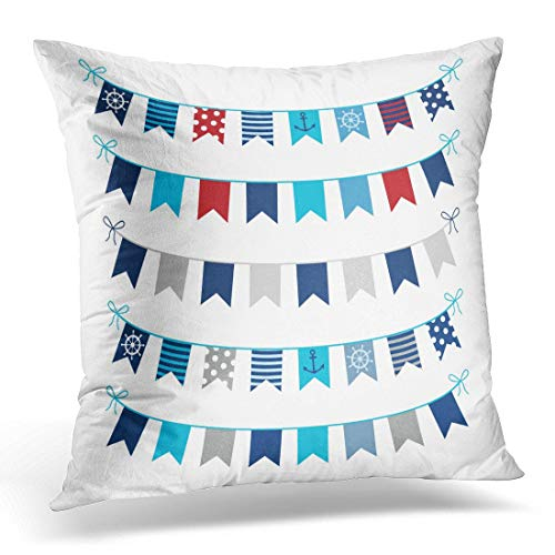 CVBRTLU Throw Pillow Covers Navy Sea of Nautical Bunting Garlands in Blue Red and Grey Colors Designs White Pennant Decorative Pillows case Square Size 16 x 16 Inches Sofa Home Decor Cushion Cover