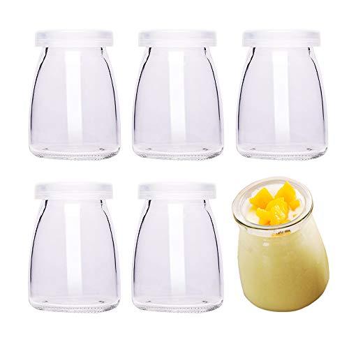 Danmu Art - 6 tarros de cristal para pudín de yogur, 100 ml, con tapas de plástico, mini taza,...