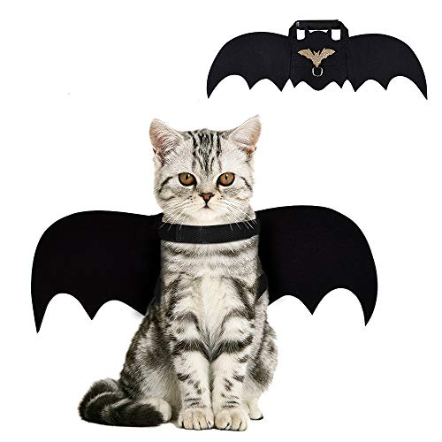 CRANACH Cat Bat Costume,Halloween Cat Bat Wings for Pets,Cat Halloween Collar Pet Apparel for Small Dogs and Cats,Comfort Material Pet Costume for Halloween (Cat Bat Costume)