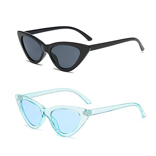 YOSHYA Retro Vintage Narrow Cat Eye Sunglasses for Women Clout Goggles Plastic Frame (Black Grey + + Clear Blue / Blue)