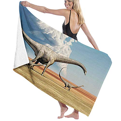 Microfiber Beach Towel Summer Swimming Printed Bath,Mother Diplodocus Dinosaur Walks Along with Her Brood of Youngsters Clouds,Travel Towels Soft Quick Dry Absorbent1