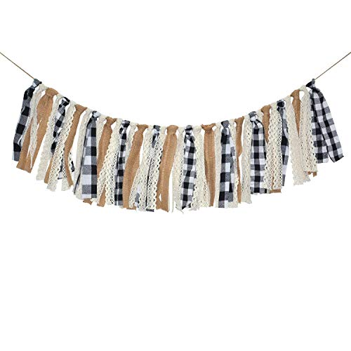 Rainlemon Buffalo Check Plaid Banner Black and White Gingham Fall Winter Christmas Mantle Fireplace Garland Decoration