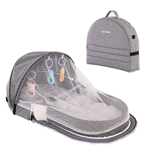 xiaohuozi Tragbares Kinderbett mit Moskitonetz Bionic faltbares Babybett Multifunktions-Reisewickeltasche Mumientasche für Reisen nach Hause im Freien, Besuche bei Verwandten und Freunden,Grey