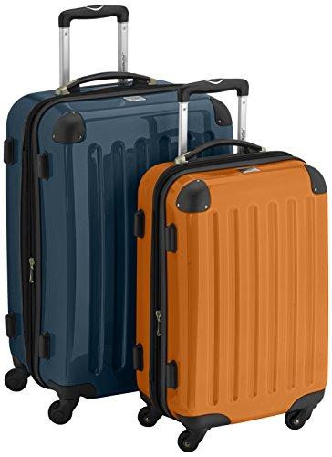 HAUPTSTADTKOFFER - Alex - 2er Koffer-Set Hartschale glänzend, 65 cm + 55 cm, 74 Liter + 42 Liter, Waldgruen-Orange