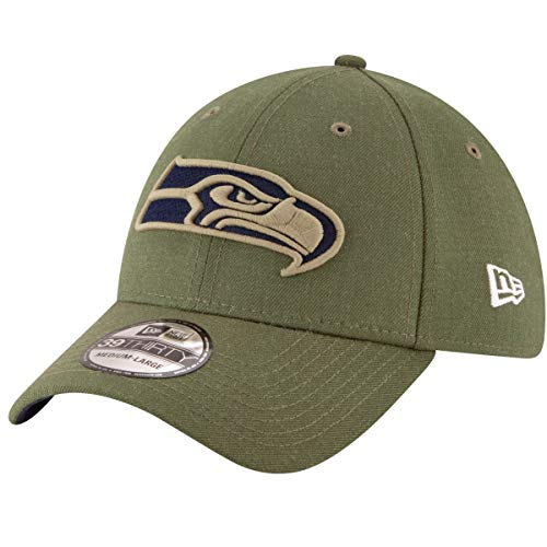 New Era Seattle Seahawks 39thirty Stretch Cap On Field 2018 Salute to Service, Green, L-XL (7 1/8 - 7 5/8)