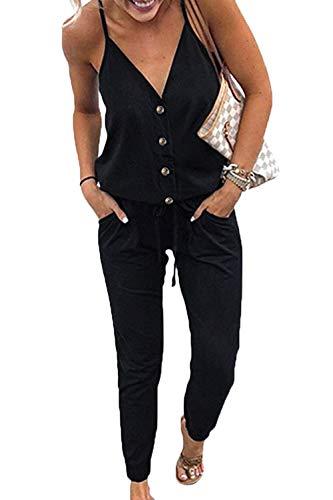 WOZNLOYE Mujer Sexy Cuello en V Profundo Monos Color Sólido Mamelucos Moda Sin Espalda Mono Verano Rompers Larga Pantalones con Bolsillo y Botón