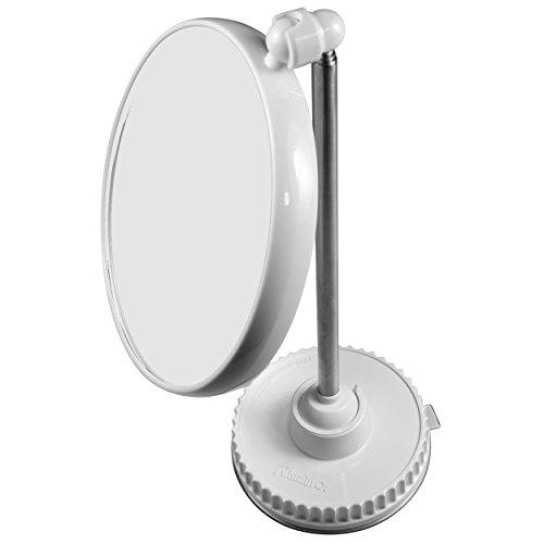 TWISTMIRROR Kosmetikspiegel, 10-fache bis 1-fache Vergrößerung, mit Saugnapf, weiße Basis