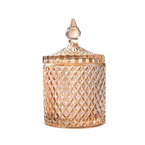 Rainie Love Home Basic Food Storage Organization Set-Crystal Diamond Faceted Jar with Crystal Lid,Suitable as A Candy Dish,Cookie Tin,Biscuit Barrel,Decorative Candy Jar (Amber, 16 oz)