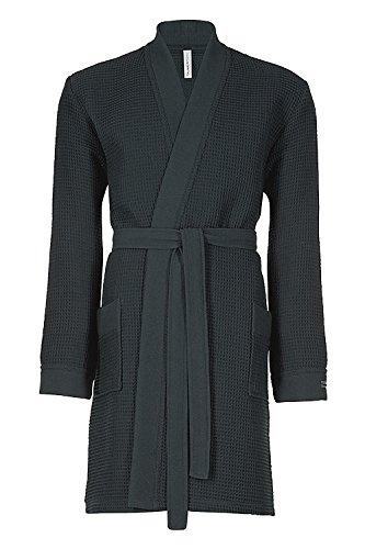 Taubert Spa Thalasso Short Kimono kurzer Bademantel 100 cm Pique XS Anthrazit