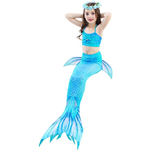 PaisDola Kids Girls Mermaid Swimming Costume Included 3Pcs Swimmable Bikini Swimsuit and Flower Garland Headband (DH06,120)
