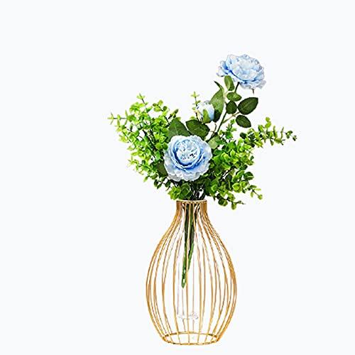 Tubo de ensayo de vidrio geométrico minimalista nórdico de hierro forjado, jarrón hidropónico para decoración de escritorio del hogar de rábano verde flores insertos versátiles adornos de escritorio
