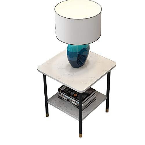 HAIZHEN Mesa de Sofá Luz de mármol de lujo Sofá Mesita, Tabla modernos Sala de estar nórdica pequeño café Dormitorio Mesa lateral creativo cuadrado de la tabla 19.6x19.6x21.6 pulgadas Mesas nido de sa