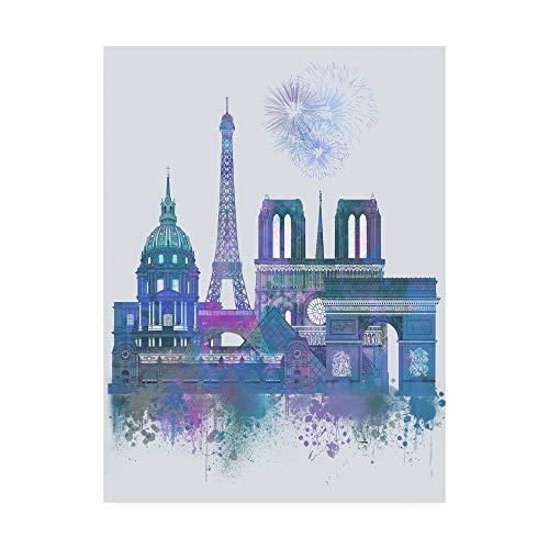 Trademark Fine Art Paris Skyline Watercolor Splash Blue by Fab Funky, 14x19