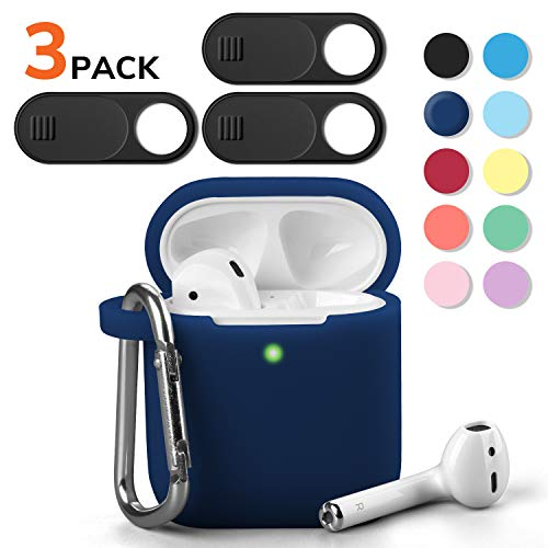 AirPods Case, GMYLE Silicone Protective Shockproof Case Cover Skins with Keychain and Webcam Cover Compatible with Apple AirPod 2 and 1, Navy Blue [Front LED Visible]