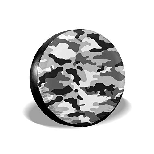 Vbnbvn Borse Portapneumatici, Black And White Camouflage Polyester Universal Spare Wheel Tire Cover Wheel Covers for Jeep Trailer RV SUV Truck Camper