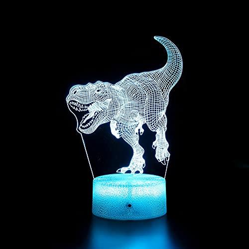 Dinosaurio 3D luz de noche para habitación de niños Jurásico dinosaurio LED ilusión lámpara de control táctil lámpara de escritorio regalos de cumpleaños para niños (estilo 9)