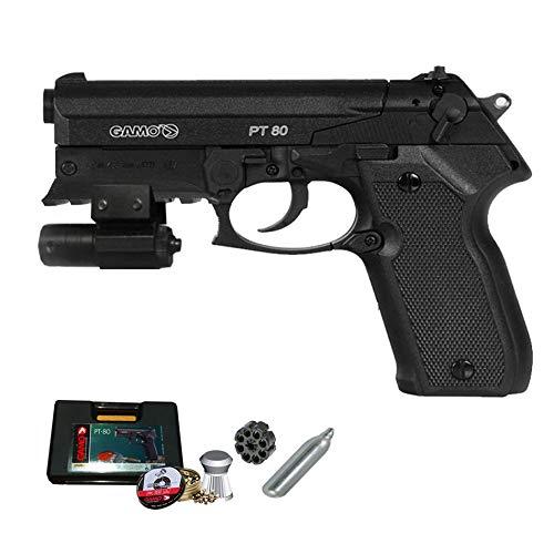 GAMO PT-80 láser | Pack Pistola de balines (perdigones de Plomo) con maletín. Arma de Aire comprimido CO2 Calibre 4,5mm <3,5J
